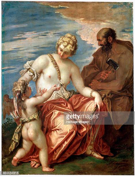 'Venus Vulcan and Cupid' 1700s According to Roman Mythology Cupid was the son of Venus and Mars Vulcan was the god of fire Found in the collection of...