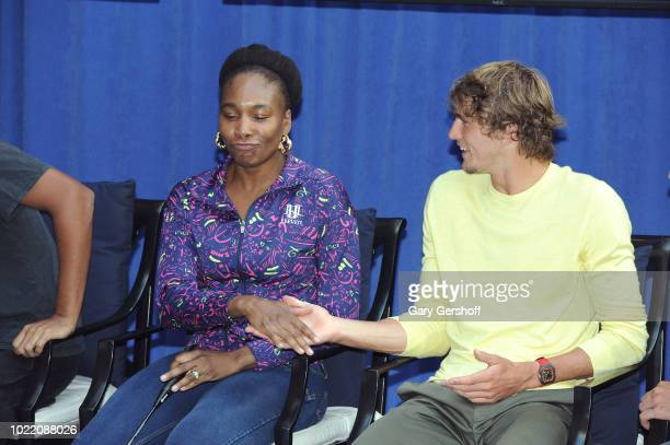 Venus Williams and Alexander Zverev seen during the 2018 Palace Invitational Badminton Tournament at Lotte New York Palace on August 23 2018 in New...
