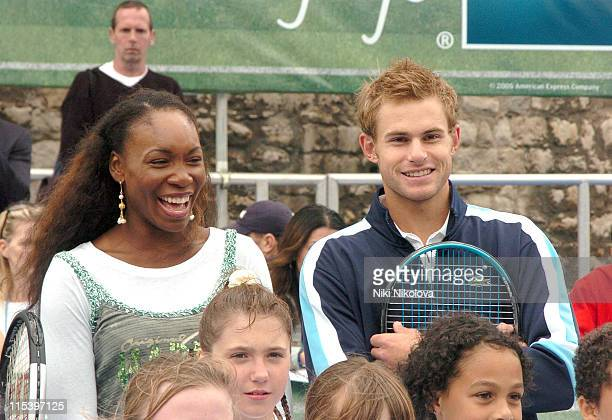Venus Williams and Andy Roddick during American Express Aces Programme Photocall with Venus Williams and Andy Roddick at Tower of London in London...