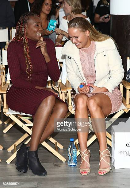 Venus Williams and Caroline Wozniacki attend the Serena Williams Signature Statement Collection By HSN during Style360 Fashion Week at Metropolitan...