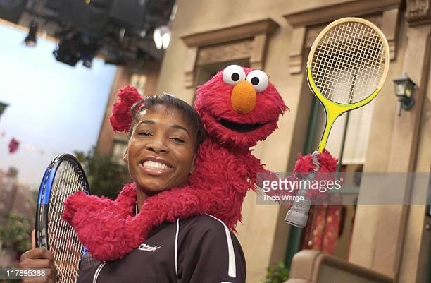 Venus Williams and Elmo during Tennis Champion Venus Williams Plays Imaginary Tennis with Elmo for Sesame Street's 35th Season, airing April 5, 2004...
