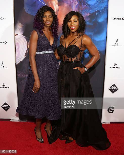Venus Williams and Serena Williams attend the 2015 Sports Illustrated Sportsperson Of The Year Ceremony at Pier Sixty at Chelsea Piers on December 15...