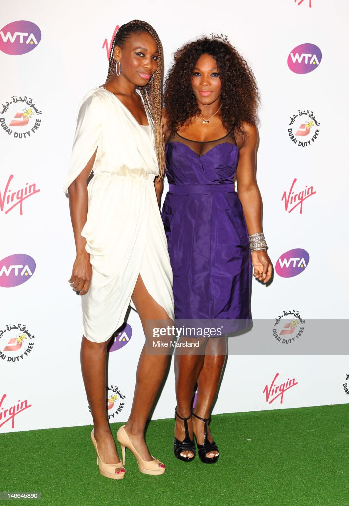 Venus Williams and Serena Williams attend the Pre-Wimbledon Party at Kensington Roof Gardens on June 21, 2012 in London, England.