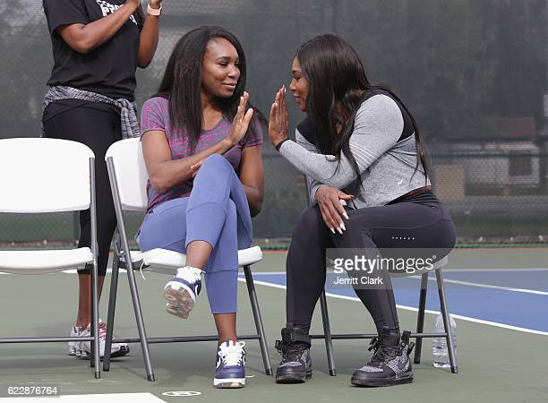 Venus Williams and Serena Williams attend the Venus and Serena Williams Court of Champions dedication ceremony during Healthy Compton 2016 Community...