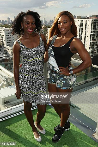 Venus Williams and Serena Williams of the USA pose during a meet greet with the Melbourne Renegades at The Olsen on January 9 2014 in Melbourne...