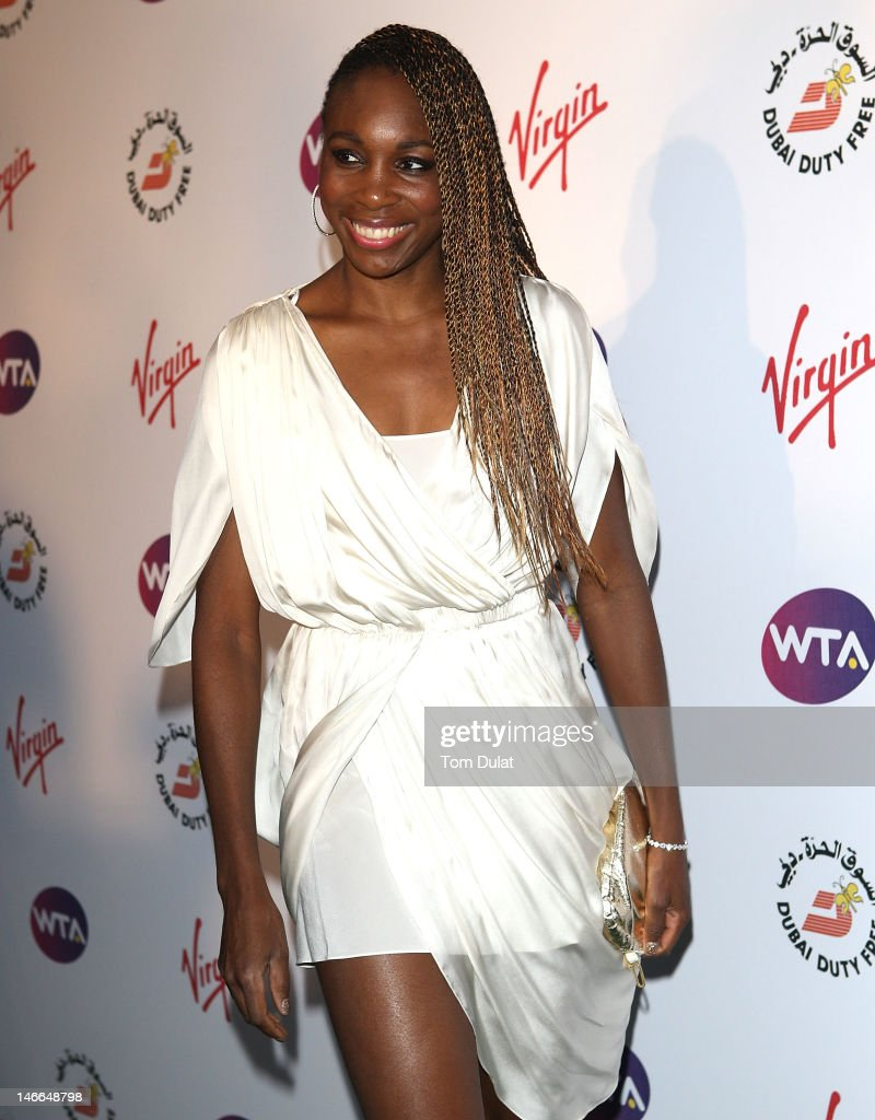 Venus Williams arrives at the WTA Tour Pre-Wimbledon Party at The Roof Gardens, Kensington on June 21, 2012 in London, England.