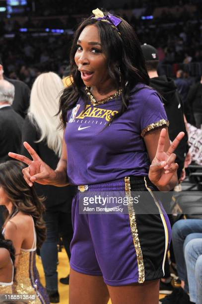 Venus Williams attends a basketball game between the Los Angeles Lakers and the Oklahoma City Thunder at Staples Center on November 19 2019 in Los...