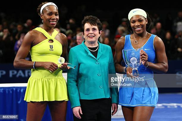 Venus Williams Billie Jean King and Serena Williams pose for photographs after the Final during the BNP Paribas Showdown for the Billie Jean Cup at...
