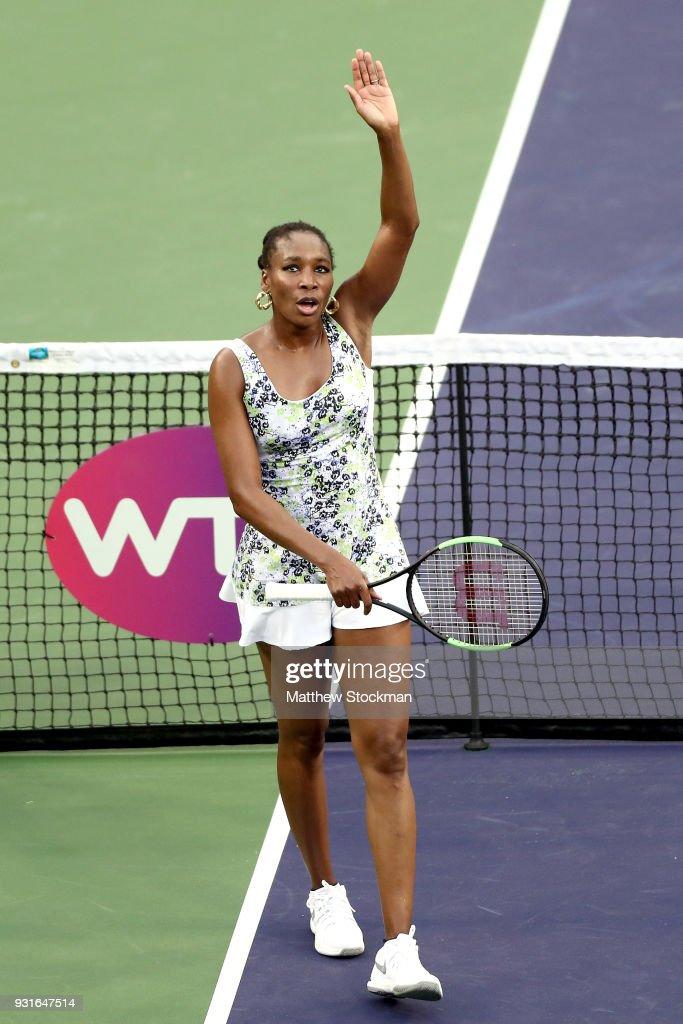 Venus Williams celebrates her win over Anastasija Sevastova of Latvia during the BNP Paribas Open at the Indian Wells Tennis Garden on March 13, 2018 in Indian Wells, California.
