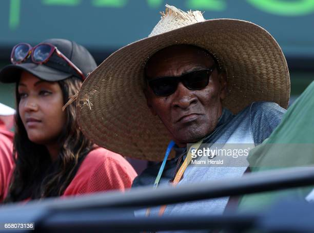 Venus Williams' father Richard Williams watches her play Patricia Maria Tig during a match at the Miami Open on Sunday March 26 2017 at the Crandon...