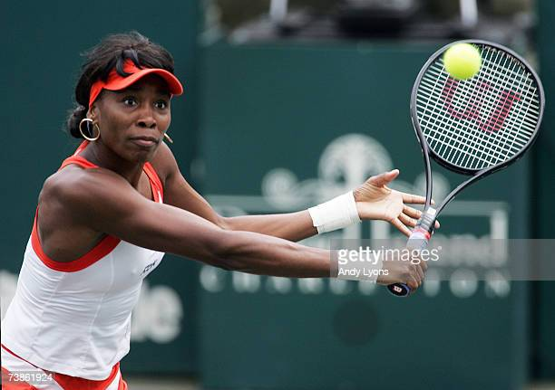 Venus Williams hits a return in her 6261 victory over Vassilissa Bardina of Russia during the Family Circle Cup at the Family Circle Tennis Center in...