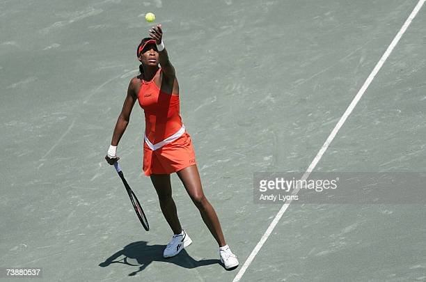 Venus Williams hits a serve in her 6475 win over Anabel Medina Garrigues of Spain during the Family Circle Cup at the Family Circle Tennis Center on...