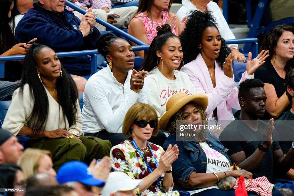 Venus Williams, Lala Anthony, Kelly Rowland, Anna Wintour, Oracene Price cheer on Serena Williams at the 2018 US Open Women's Finals on September 8, 2018 in New York City.