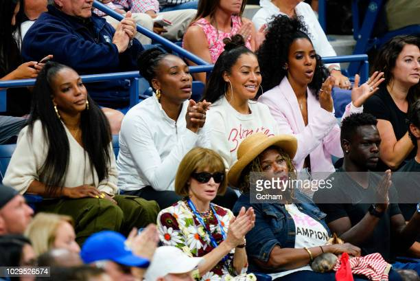 Venus Williams Lala Anthony Kelly Rowland Anna Wintour Oracene Price cheer on Serena Williams at the 2018 US Open Women's Finals on September 8 2018...