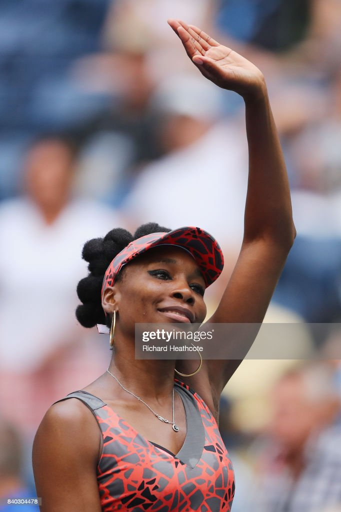 Venus Williams of the United States acknowledges the crowd after defeating Viktoria Kuzmova of Slovakia in their first round Women's Singles match on Day One of the 2017 US Open at the USTA Billie Jean King National Tennis Center on August 28, 2017 in the Flushing neighborhood of the Queens borough of New York City.