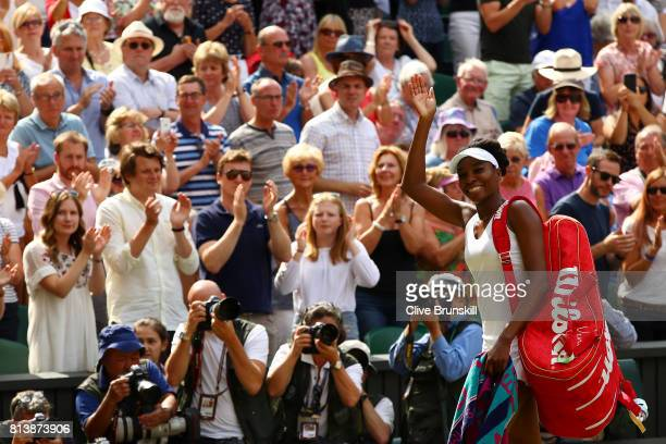 Venus Williams of The United States acknowledges the crowd as she celebrates victory after the Ladies Singles semi final match against Johanna Konta...