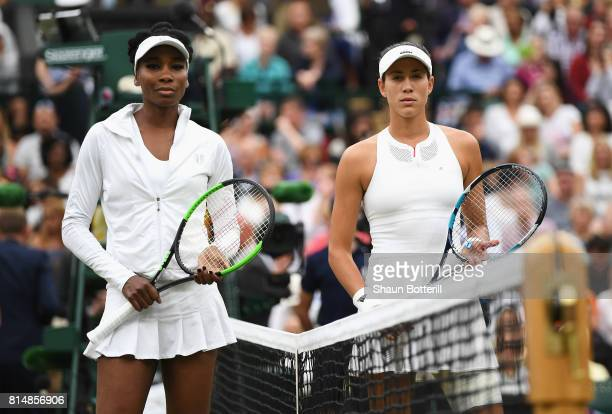 Venus Williams of The United States and Garbine Muguruza of Spain pose prior to the Ladies Singles final on day twelve of the Wimbledon Lawn Tennis...