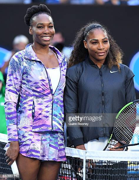 Venus Williams of the United States and Serena Williams of the United States pose for a photo before their Women's Singles Final match on day 13 of...