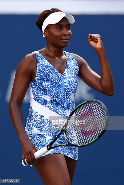 Venus Williams of the United States celebrates after defeating Anett Kontaveit of Estonia in their Women's Singles Fourth Round match on Day Seven of...