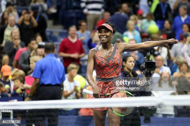 Venus Williams of the United States celebrates after defeating Carla Suárez Navarro of Spain in Women's Singles round four tennis match within the...