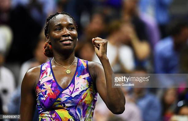 Venus Williams of the United States celebrates defeating Laura Siegemund of Germany during her third round Women's Singles match on Day Six of the...