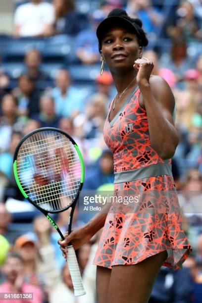 Venus Williams of the United States celebrates her third round match victory over Maria Sakkari of Greece on Day Five of the 2017 US Open at the USTA...