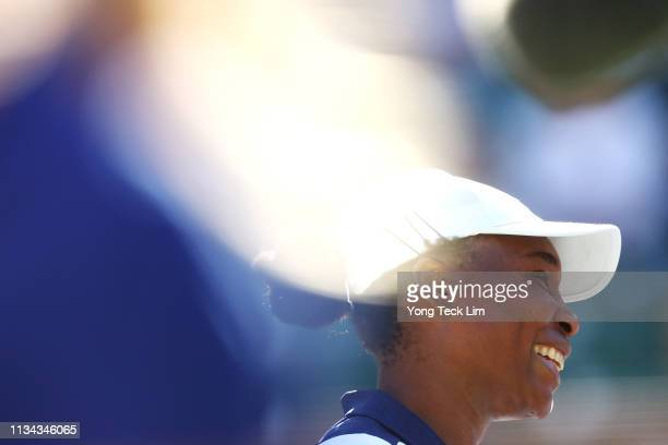 Venus Williams of the United States celebrates her three set victory against Andrea Petkovic of Germany during their women's singles first round...