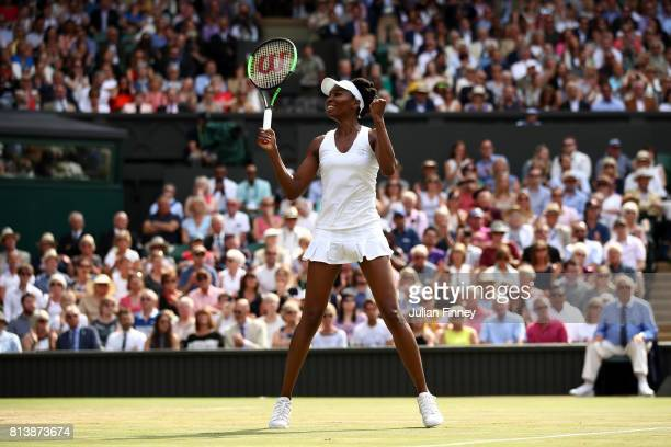 Venus Williams of The United States celebrates match point and victory during the Ladies Singles semi final match against Johanna Konta of Great...