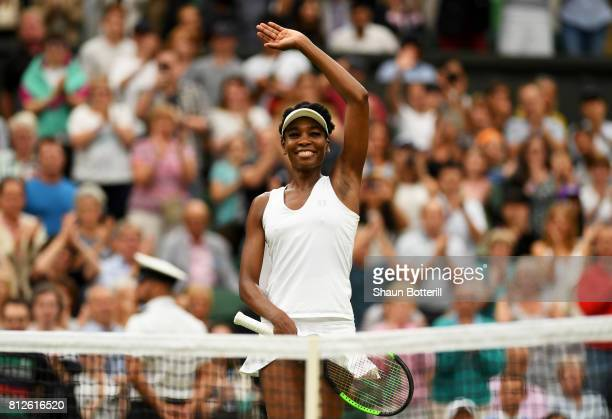 Venus Williams of The United States celebrates victory after the Ladies Singles quarter final match against Jelena Ostapenko of Latvia on day eight...