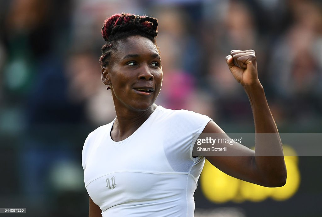 Venus Williams of The United States celebrates victory during the Ladies Singles third round match against Daria Kasatkina of Russia on day five of the Wimbledon Lawn Tennis Championships at the All England Lawn Tennis and Croquet Club on July 1, 2016 in London, England.