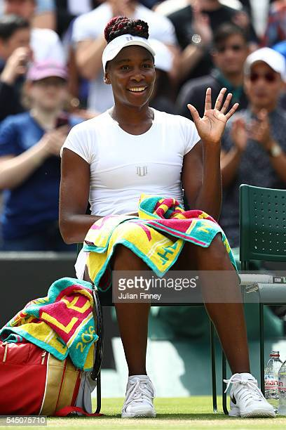 Venus Williams of The United States celebrates victory during the Ladies Singles Quarter Finals match against Yaroslava Shvedova of Kazakhstan on day...