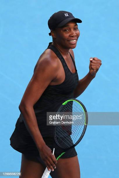 Venus Williams of the United States celebrates victory in her match against Arantxa Rus of the Netherlands during day one of the WTA 500 Yarra Valley...