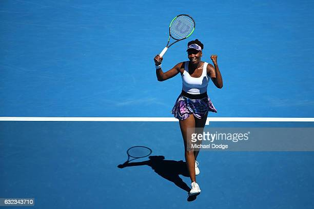 Venus Williams of the United States celebrates winning her fourth round match against Mona Barthel of Germany on day seven of the 2017 Australian...