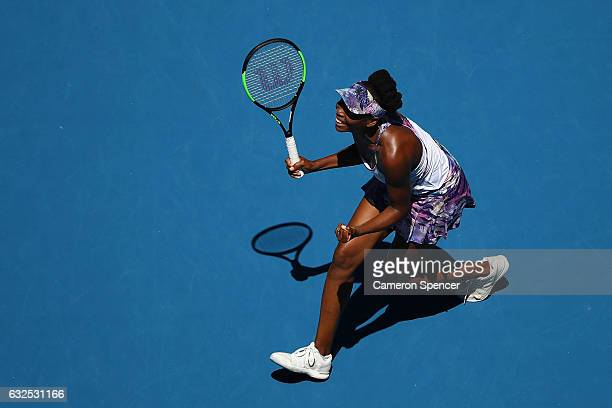 Venus Williams of the United States celebrates winning her quarterfinal match against Anastasia Pavlyuchenkova of Russia on day nine of the 2017...