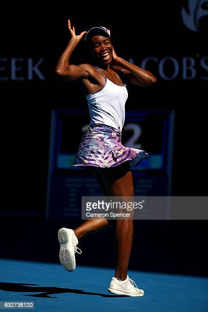 Venus Williams of the United States celebrates winning match point in her semifinal match against CoCo Vandeweghe of the United States on day 11 of...