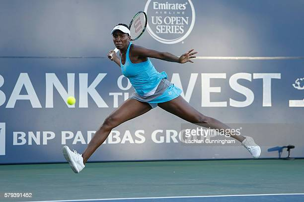 Venus Williams of the United States competes against Alison Riske of the United States during a semi final match on day six of the Bank of the West...