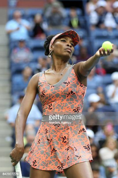 Venus Williams of the United States competes against Carla Suarez Navarro of Spain in Women's Singles round four tennis match within the 2017 US Open...