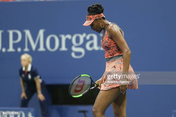 Venus Williams of the United States competes against Carla Suárez Navarro of Spain in Women's Singles round four tennis match within the 2017 US Open...