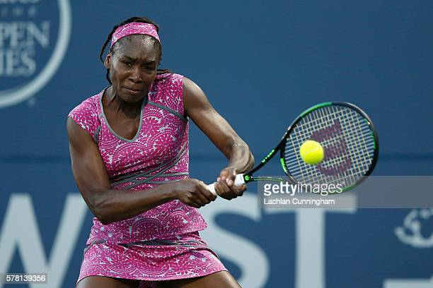Venus Williams of the United States competes against Magda Linette of Poland during day three of the Bank of the West Classic at the Stanford...