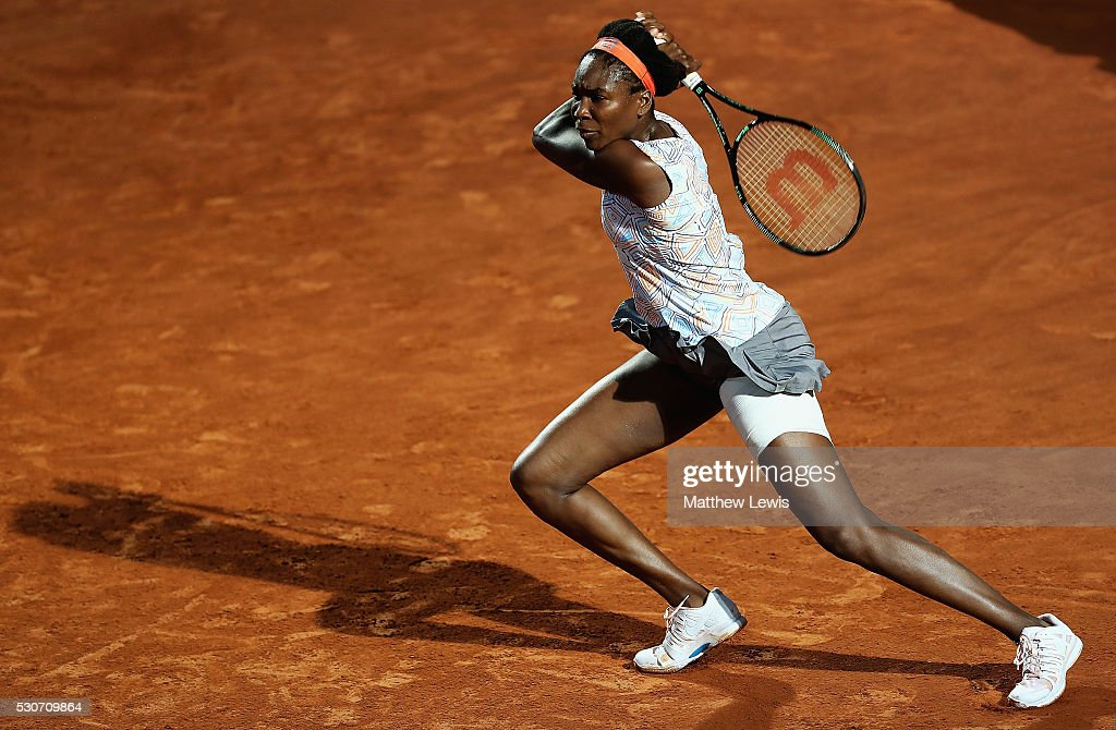 Venus Williams of the United States in action against Timea Babos of Hungary during day four of the The Internazionali BNL d'Italia 2016 on May 11, 2016 in Rome, Italy.