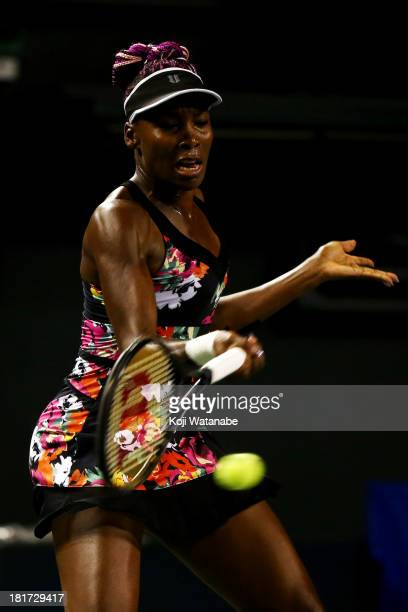 Venus Williams of the United States in action during her women's singles second round match against Victoria Azarenka of Belarus during day three of...