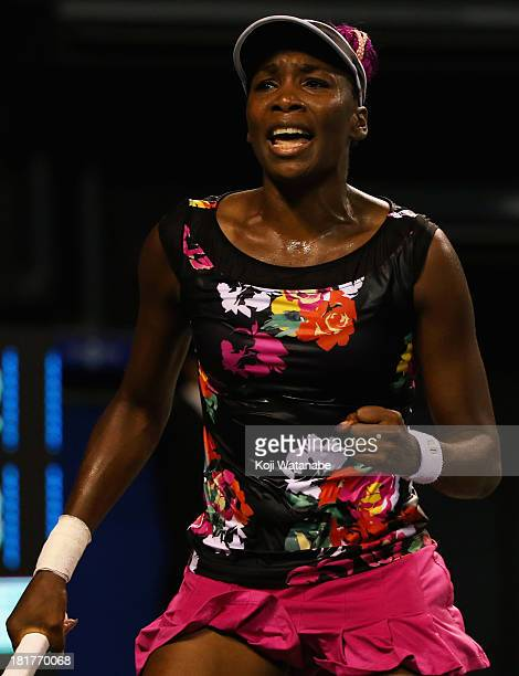 Venus Williams of the United States in action during her women's singles third round match against Simona Halep of Romania during day four of the...
