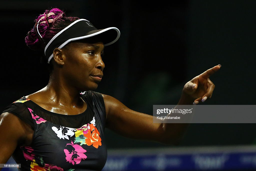 Venus Williams of the United States in action during her women's singles quarter final match against Eugenie Bouchard of Canada during day five of the Toray Pan Pacific Open at Ariake Colosseum on September 26, 2013 in Tokyo, Japan.