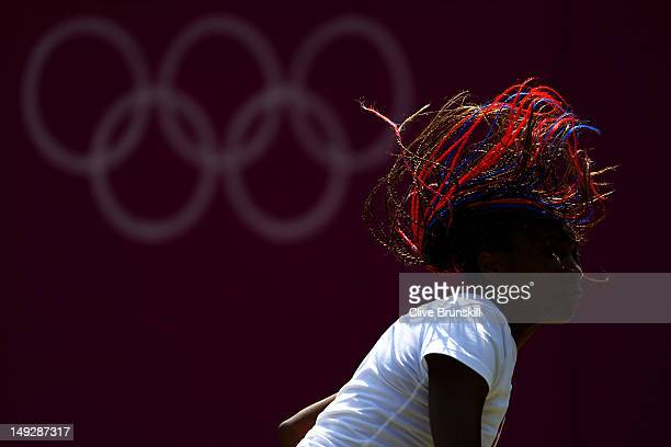 Venus Williams of the United States in action during the practice session ahead of the 2012 London Olympic Games at the All England Lawn Tennis and...