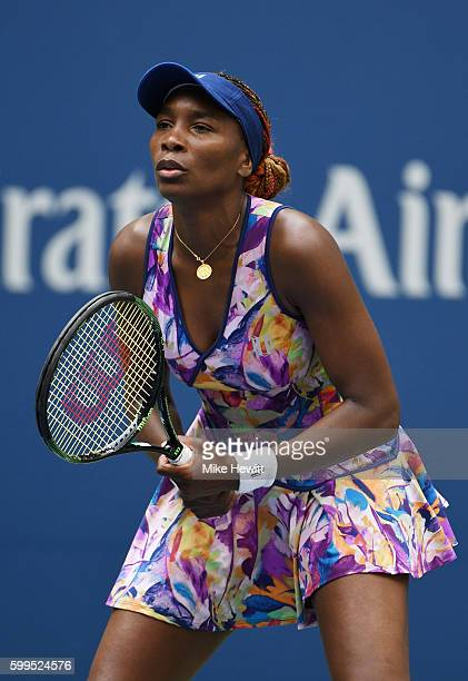 Venus Williams of the United States looks on against Karolina Pliskova of the Czech Republic during her fourth round Women's Singles match on Day...