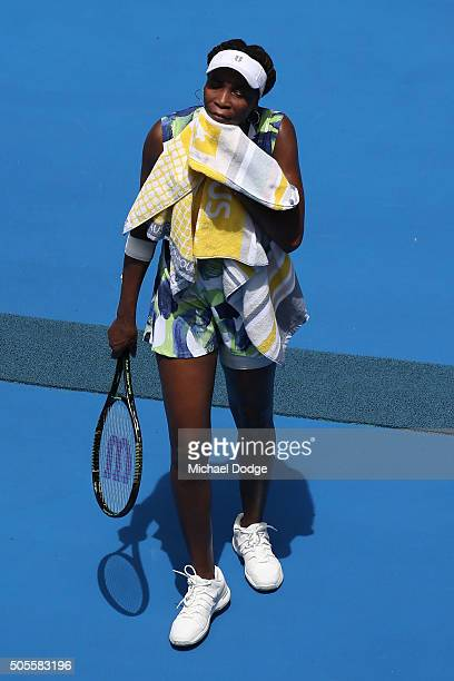 Venus Williams of the United States looks on in her first round match against Johanna Konta of Great Britain during day two of the 2016 Australian...
