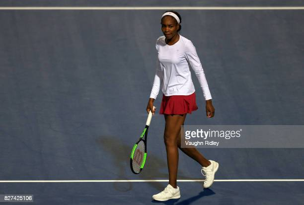 Venus Williams of the United States looks to her coach after winning her match against IrinaCamelia Begu of Romania during Day 3 of the Rogers Cup at...