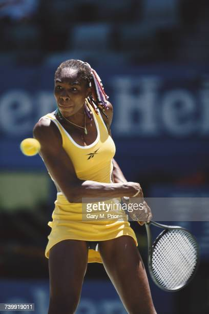 Venus Williams of the United States makes a backhand return against Chanda Rubin during their Women's Singles fourth round match at the Australian...