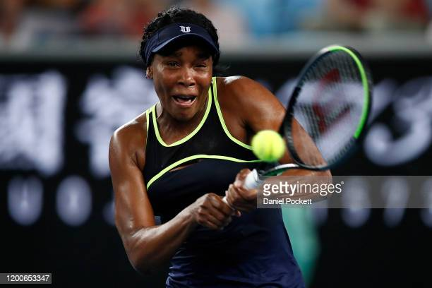 Venus Williams of the United States of America plays a backhand during her Women's Singles first round match against Coco Gauff of the United States...