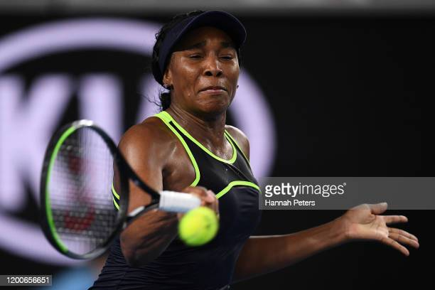 Venus Williams of the United States of America plays a forehand during her Women's Singles first round match against Coco Gauff of the United States...